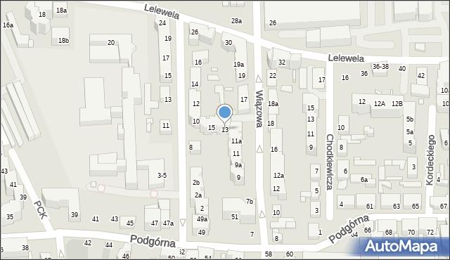 Toruń, Wiązowa, 13, mapa Torunia