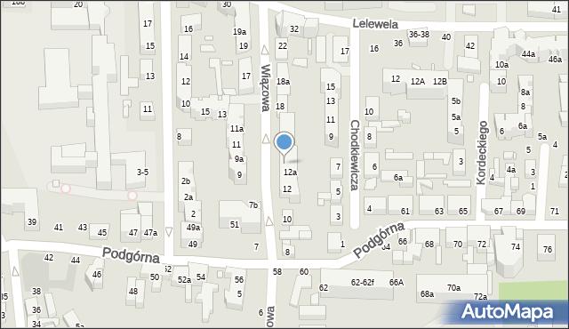 Toruń, Wiązowa, 14, mapa Torunia