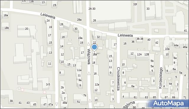 Toruń, Wiązowa, 18a, mapa Torunia