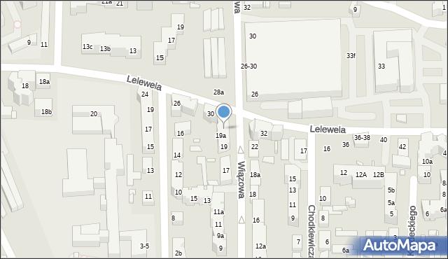 Toruń, Wiązowa, 21, mapa Torunia