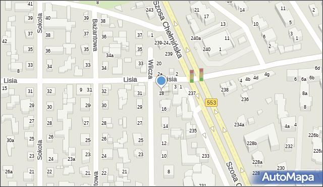 Toruń, Wilcza, 18, mapa Torunia