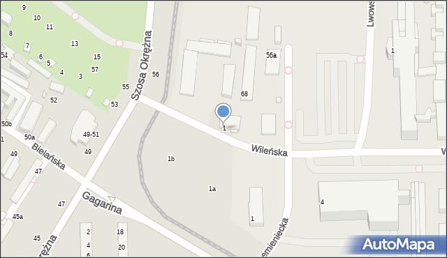 Toruń, Wileńska, 1, mapa Torunia