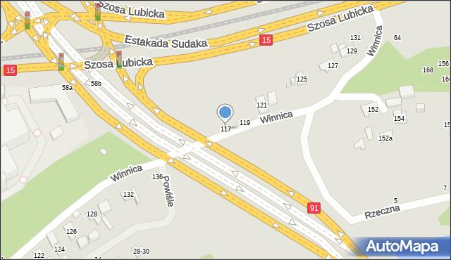 Toruń, Winnica, 117, mapa Torunia