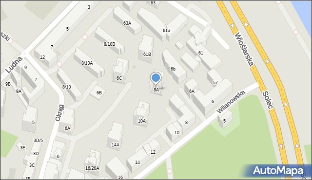 Warszawa, Wilanowska, 8A, mapa Warszawy