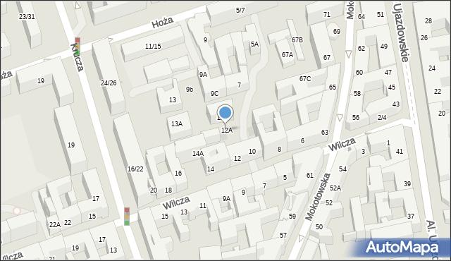 Warszawa, Wilcza, 12A, mapa Warszawy