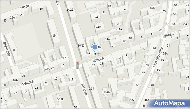 Warszawa, Wilcza, 18, mapa Warszawy