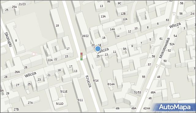 Warszawa, Wilcza, 15, mapa Warszawy