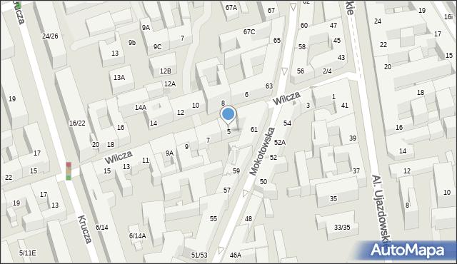 Warszawa, Wilcza, 5, mapa Warszawy