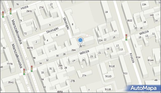 Warszawa, Wilcza, 26, mapa Warszawy