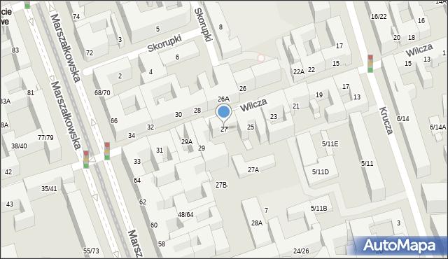 Warszawa, Wilcza, 27, mapa Warszawy