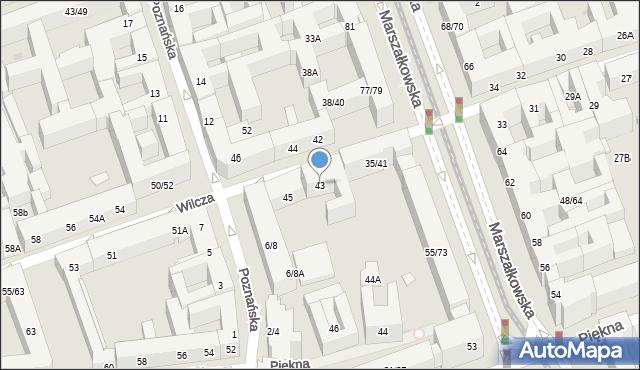 Warszawa, Wilcza, 43, mapa Warszawy