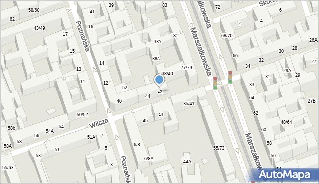 Warszawa, Wilcza, 42, mapa Warszawy