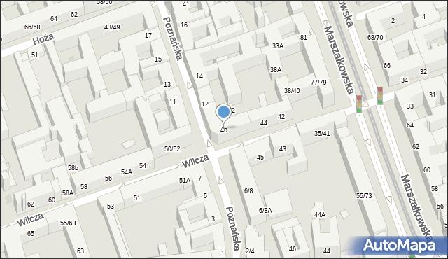 Warszawa, Wilcza, 46, mapa Warszawy