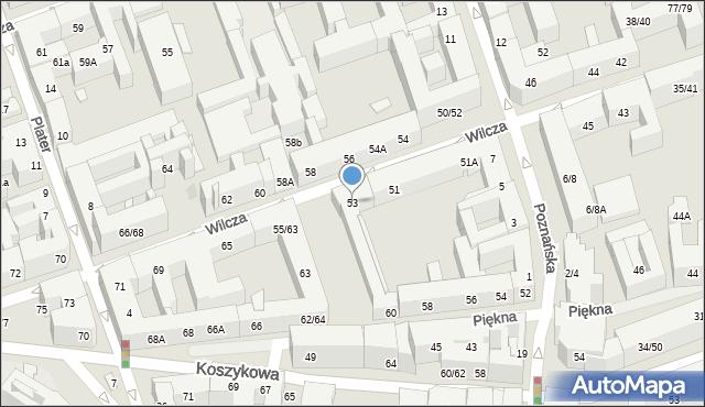 Warszawa, Wilcza, 53, mapa Warszawy