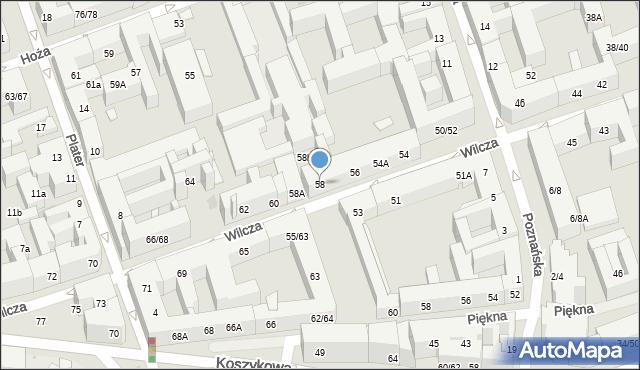 Warszawa, Wilcza, 58, mapa Warszawy
