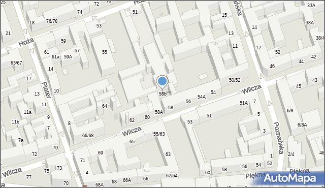 Warszawa, Wilcza, 58b, mapa Warszawy