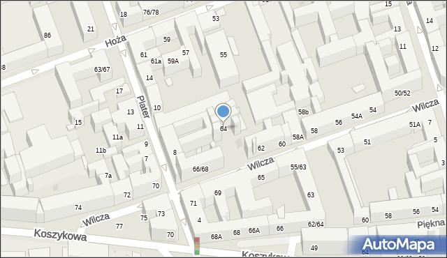Warszawa, Wilcza, 64, mapa Warszawy