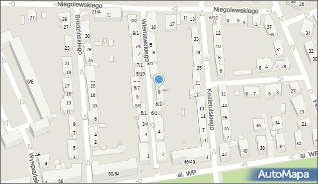 Warszawa, Wieniawskiego Henryka, 6, mapa Warszawy
