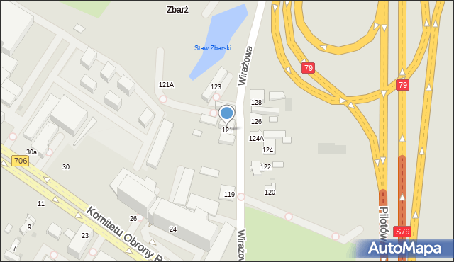 Warszawa, Wirażowa, 121, mapa Warszawy