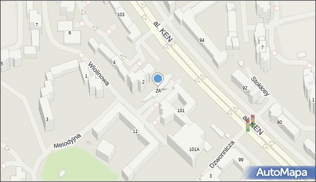 Warszawa, Wiolinowa, 2A, mapa Warszawy