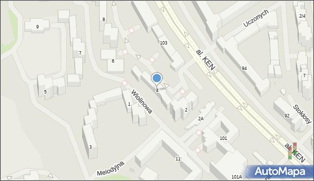 Warszawa, Wiolinowa, 4, mapa Warszawy