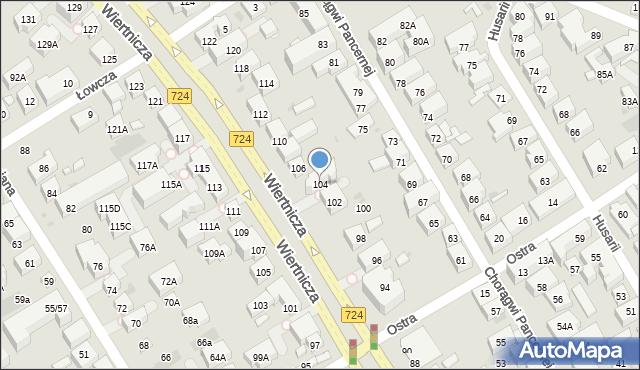 Warszawa, Wiertnicza, 104, mapa Warszawy