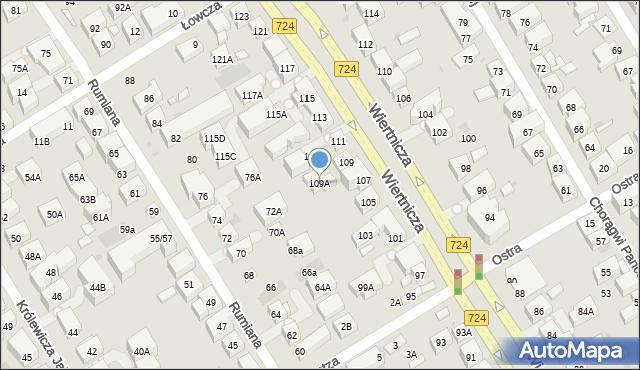 Warszawa, Wiertnicza, 109A, mapa Warszawy