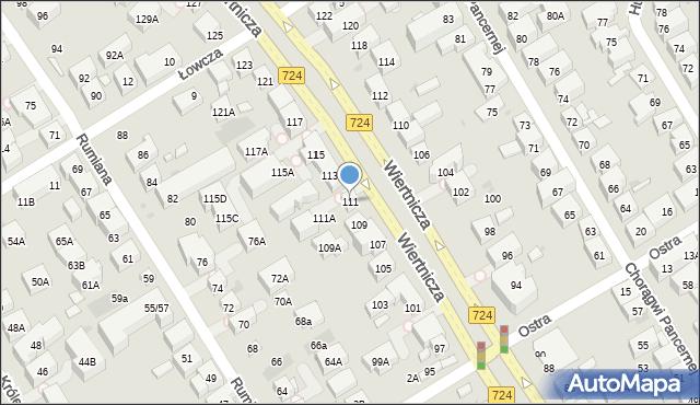 Warszawa, Wiertnicza, 111, mapa Warszawy