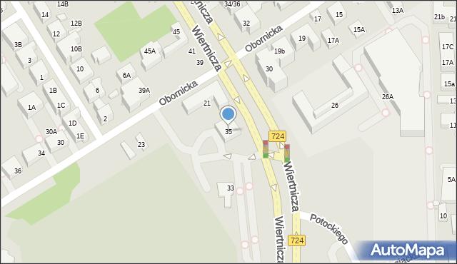 Warszawa, Wiertnicza, 35, mapa Warszawy