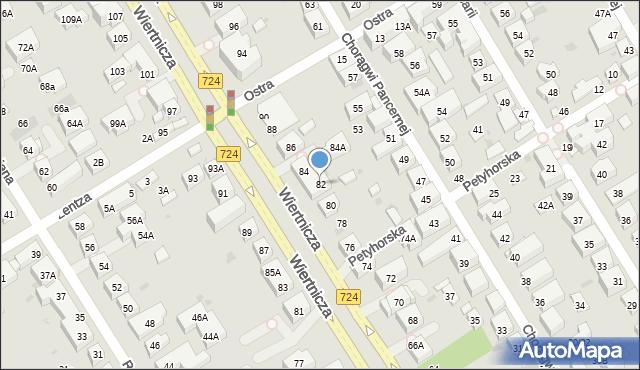 Warszawa, Wiertnicza, 82, mapa Warszawy