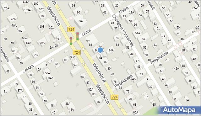 Warszawa, Wiertnicza, 84, mapa Warszawy