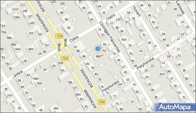 Warszawa, Wiertnicza, 84A, mapa Warszawy