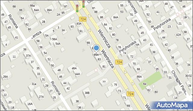 Warszawa, Wiertnicza, 85, mapa Warszawy