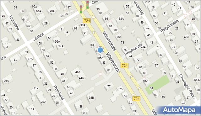 Warszawa, Wiertnicza, 85A, mapa Warszawy