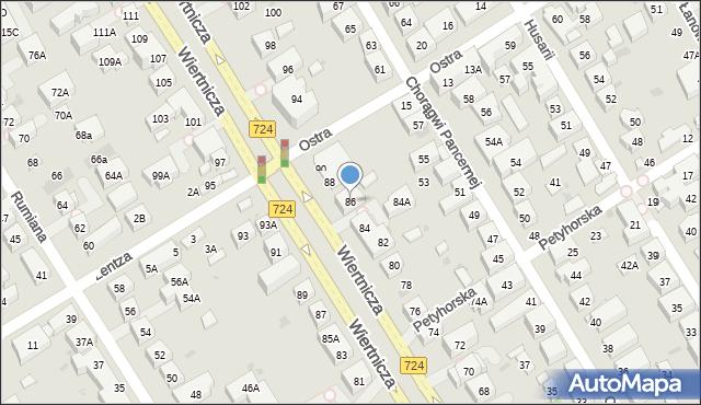 Warszawa, Wiertnicza, 86, mapa Warszawy
