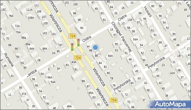 Warszawa, Wiertnicza, 86A, mapa Warszawy