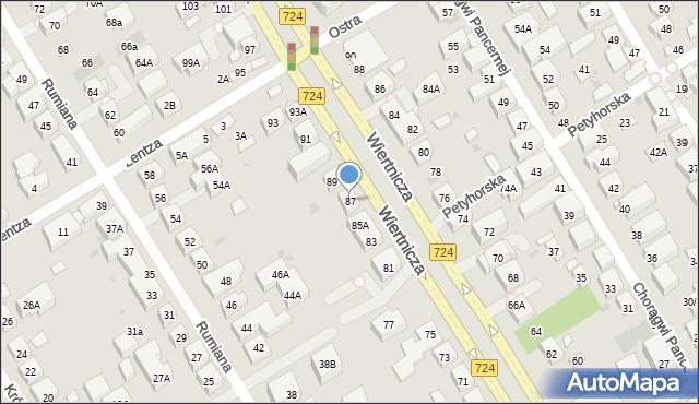Warszawa, Wiertnicza, 87, mapa Warszawy