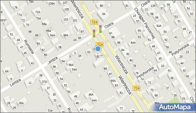 Warszawa, Wiertnicza, 91, mapa Warszawy