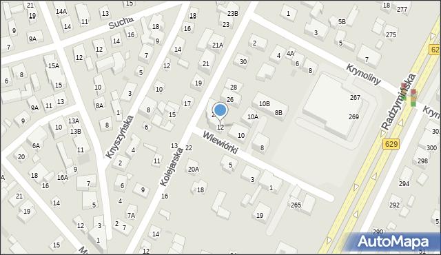 Warszawa, Wiewiórki, 12, mapa Warszawy