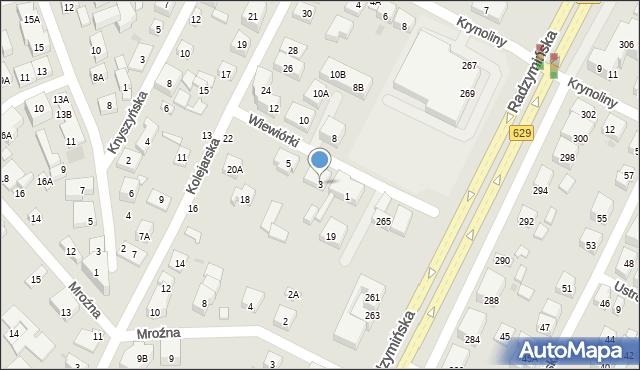 Warszawa, Wiewiórki, 3, mapa Warszawy