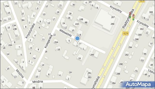 Warszawa, Wiewiórki, 3a, mapa Warszawy