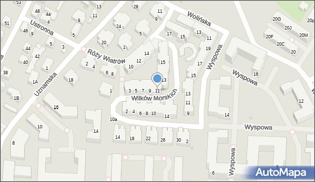 Warszawa, Wilków Morskich, 11, mapa Warszawy