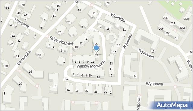 Warszawa, Wilków Morskich, 13, mapa Warszawy
