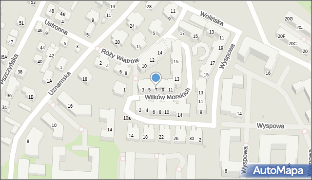 Warszawa, Wilków Morskich, 7, mapa Warszawy