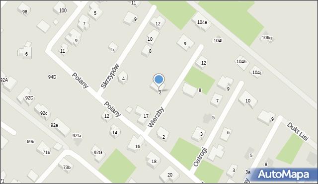 Warszawa, Wierzby, 3, mapa Warszawy