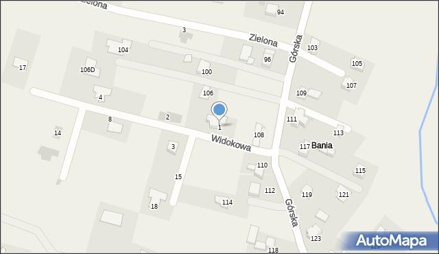 Wieprz, Widokowa, 1, mapa Wieprz