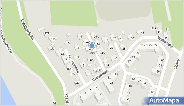 Wrocław, Witkowska, 10A, mapa Wrocławia