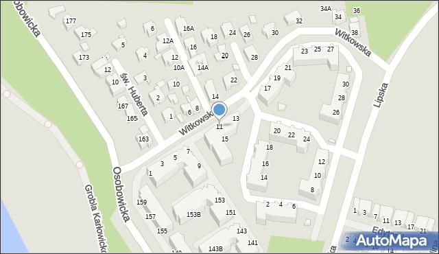 Wrocław, Witkowska, 11, mapa Wrocławia