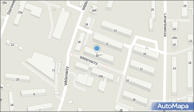 Andrychów, Włókniarzy, 10, mapa Andrychów