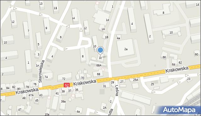 Andrychów, Włókniarzy, 1c, mapa Andrychów